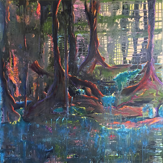 Ancient Woodland Reflections Painting By Cowfold West Sussex Artist Carole Skinner-Rupniak from Lewes East Sussex