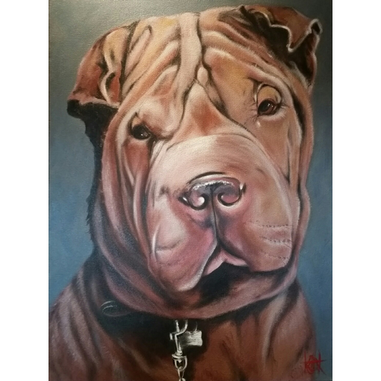 Dog Portrait Painting Commission By Billingshurst West Sussex Artist Keith Coomber