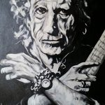 Keith Richards Rolling Stones Painting – Rock Musician – Music Art Gallery