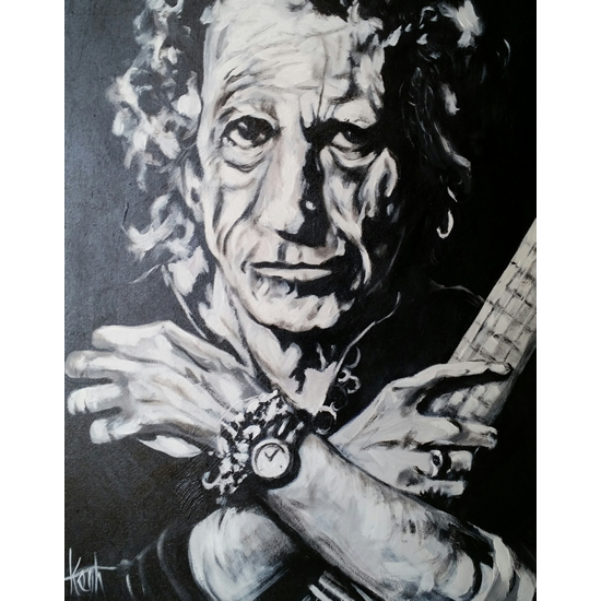 Keith Richards Rolling Stones Painting - Rock Musician - Music Art Gallery