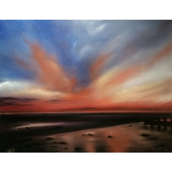 Sunset At Beach East Preston Arun District of West Sussex - Sea Art Gallery