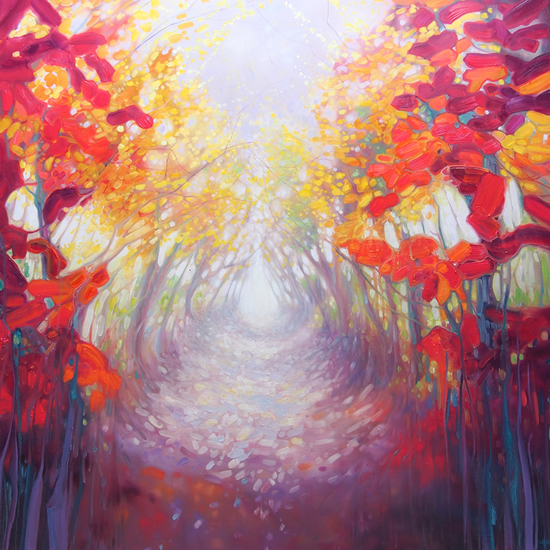 A Path Appears Forest Painting by Sussex Artist Gill Bustamante