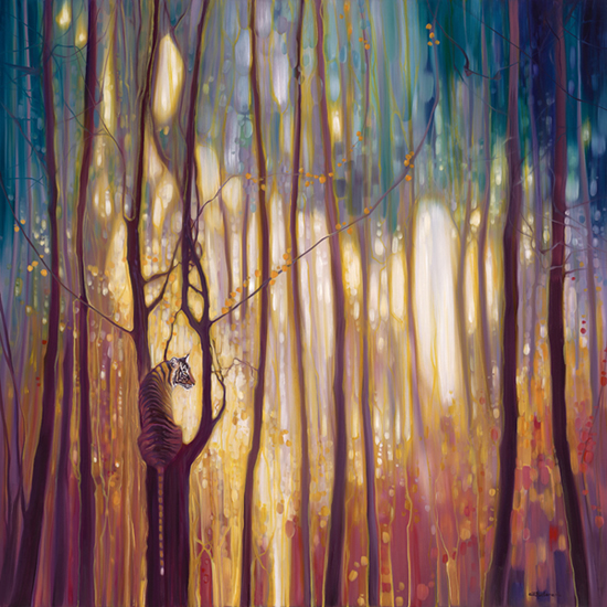 Burning Bright Tiger Forest Animal Painting by Sussex Artist Gill Bustamante