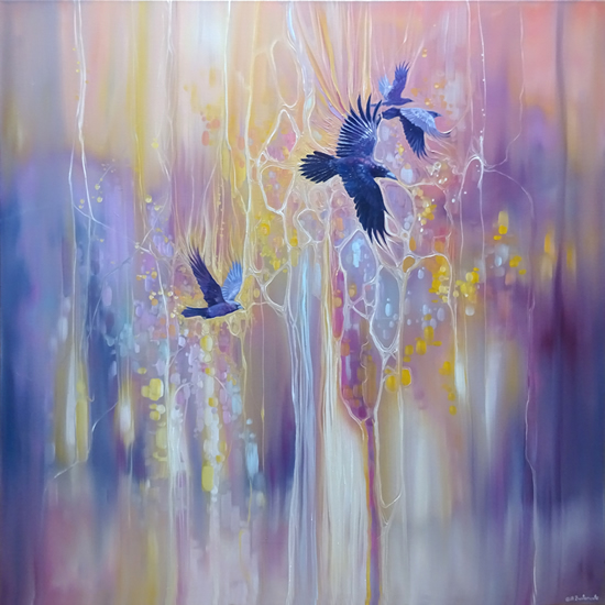Messengers of the Gods Crow Painting by Gill Bustamante Sussex Artist