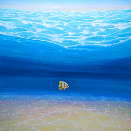 Underwater Seascape - Fish Painting by East Sussex Artist Gill Bustamante