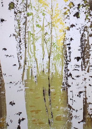 Birches In Spring - Original Screen Prints - Shirley Parker-Gore Art - Rye East Sussex Artist