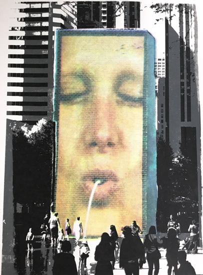 Chicago Digital Fountain - Rye East Sussex Art Gallery - Shirley Parker-Gore Artist