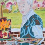 Artist painting at easel in art studio – Isle of Wight Art Gallery ofTina Hatton-Gore