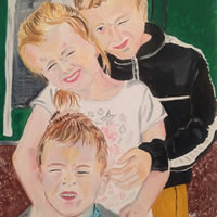 Group portrait commission painting of children – Isle of Wight Artist