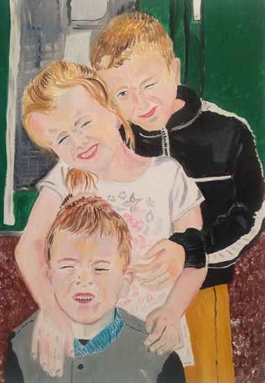 Group portrait commission painting of children - Isle of Wight Artist Tina Hatton-Gore