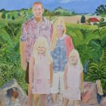 Family portrait painting with landscape background – Isle of Wight Artist