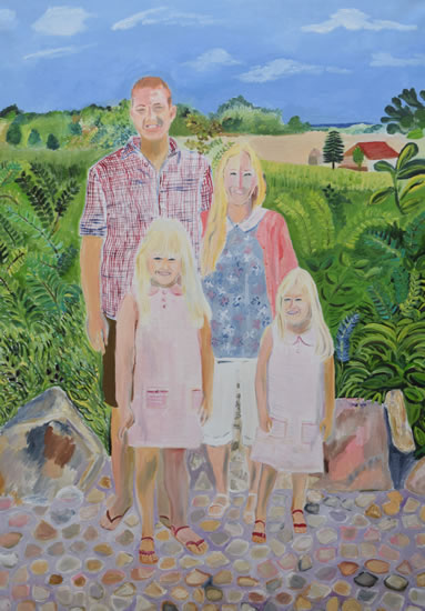 Family portrait painting with landscape background - Isle of Wight Artist