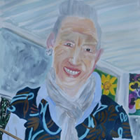 Portrait of artist painting in studio – Art Gallery of Tina Hatton-Gore – Isle of Wight