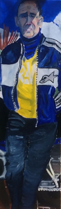 Portrait of man with blue leather jacket - Isle of Wight Artist
