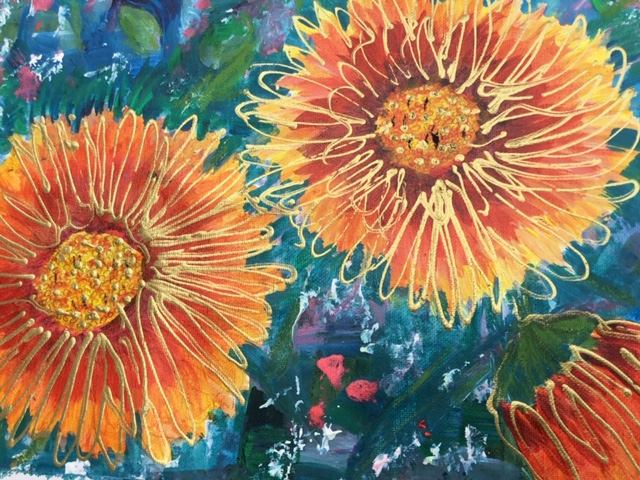 Gaillardias - Flowers Art Gallery - St Leonards on Sea Sussex Artist Sheila Martin
