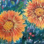 Gaillardias – Flowers Art Gallery – St Leonards on Sea Sussex Artist Sheila Martin