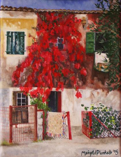 Gaios, Greece - Marigold Plunkett - Sussex Artist - Portraits in Oil, Drawings and Printmaking - Sussex Art Gallery