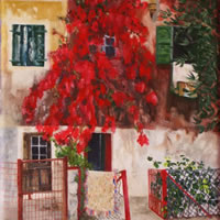 Gaios, Greece – Marigold Plunkett – Sussex Artist – Portraits in Oil, Drawings and Printmaking – Sussex Art Gallery