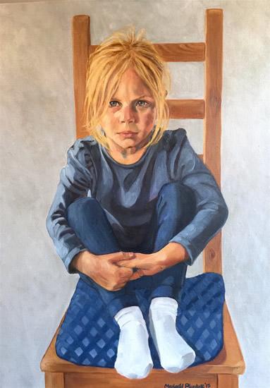 Portrait - Elliott Seated - Marigold Plunkett - Sussex Artist - Portraits in Oil