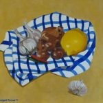 Still Life – Garlic, Shallots, Chile and Lemon – Marigold Plunkett – Sussex Artist – Portraits in Oil, Drawings and Printmaking
