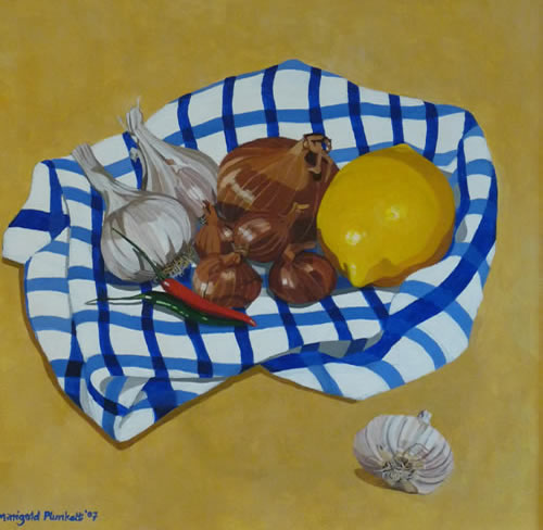 Still Life - Garlic, Shallots, Chile and Lemon - Marigold Plunkett - Sussex Artist - Portraits in Oil, Drawings and Printmaking
