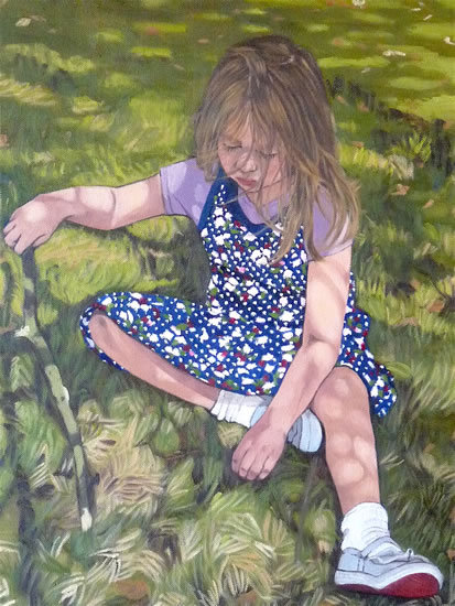 Girl, Lost in Thought - Sussex Artist Marigold Plunkett Sussex Art Gallery