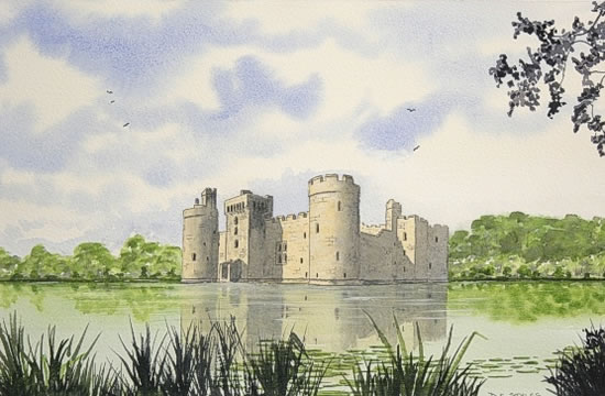 Bodiam Castle (National Trust), East Sussex - Watercolour - East Sussex Artist Dave Styles - Sussex Artists Gallery