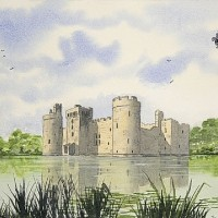 Bodiam Castle (National Trust), East Sussex – Watercolour – East Sussex Artist Dave Styles – Sussex Artists Gallery