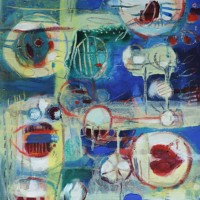 Contemporary Art – Coming Up For Air – West Sussex Artist – Emma Cooper – Acrylic and Mixed Media on Canvas – Sussex Artists Gallery