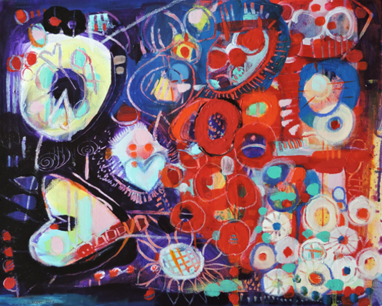 Contemporary Art - Night Riches - West Sussex Artist - Emma Cooper - Sussex Artists Gallery - Acrylic and Mixed Media on Canvas