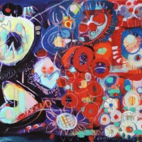 Contemporary Art – Night Riches – West Sussex Artist – Emma Cooper – Acrylic and Mixed Media on Canvas – Sussex Artists Gallery