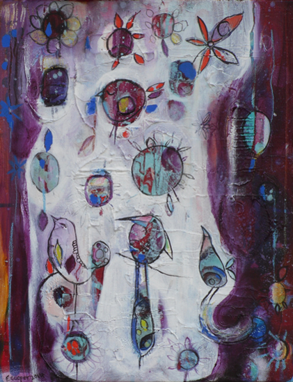 Contemporary Art - Peace in Paradise - West Sussex Artist - Emma Cooper - Sussex Artists Gallery - Acrylic and Mixed Media on Canvas