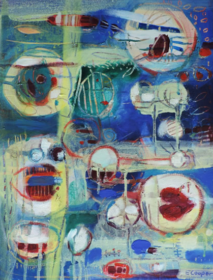 Contemporary Art - West Sussex Artist - Emma Cooper - Coming Up For Air - Acrylic and Mixed Media on Canvas - Sussex Artists Gallery