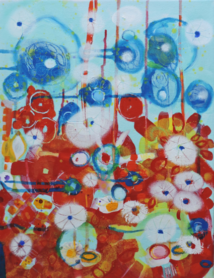 Contemporary Art - Wishing - West Sussex Artist - Emma Cooper - Acrylic and Mixed Media on Canvas - Sussex Artists Gallery