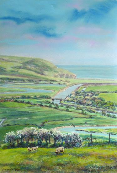 Cuckmere Haven from Frog Firle Farm - East Sussex - Juliet Murray - Sussex Artist Gallery - Pastel Landscape Artist