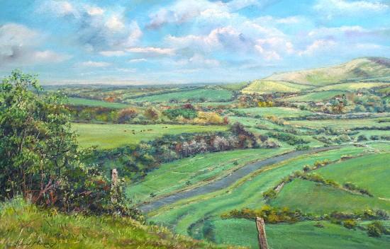 Cuckmere Valley Looking East - East Sussex Artist Juliet Murray - Pastel Landscape Artist