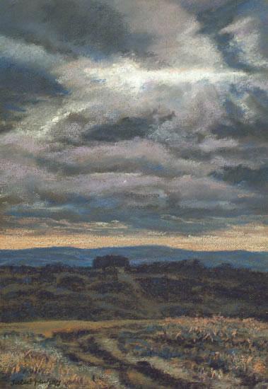 Dark Skies - Sussex Artist Juliet Murray - Sussex Artist Gallery - Pastel Landscape Artist