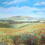 Downland Poppies near Alfriston – Juliet Murray – Sussex Artist Gallery – Pastel Landscape Artist