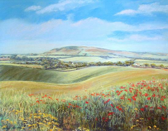 Downland Poppies near Alfriston - Juliet Murray - Sussex Artist Gallery - Pastel Landscape Artist