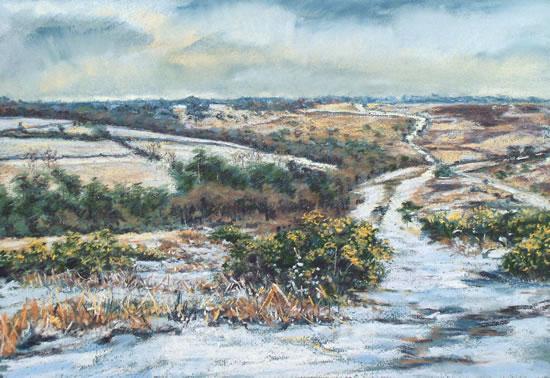 First Snows, Old Lodge Valley, Ashdown Forest - Juliet Murray - Sussex Artist Gallery - Pastel Landscape Artist