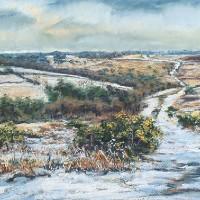 First Snows, Old Lodge Valley, Ashdown Forest – Juliet Murray – Sussex Artist Gallery – Pastel Landscape Artist