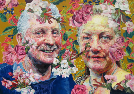 Floral Portrait - Dad and Jane - Felicity MeachEm - West Sussex Artist - Portraits in Oil