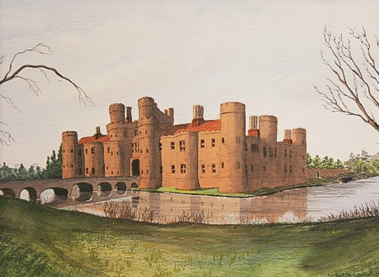 Herstmonceux Castle, Near Hailsham, East Sussex - Watercolour - East Sussex Artist Dave Styles - Sussex Artists Gallery