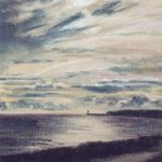 Newhaven Harbour from Seaford, East Sussex – East Sussex Artist Juliet Murray – Pastel Landscape Artist
