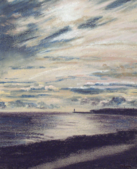 Newhaven Harbour from Seaford - Juliet Murray - Sussex Artist Gallery