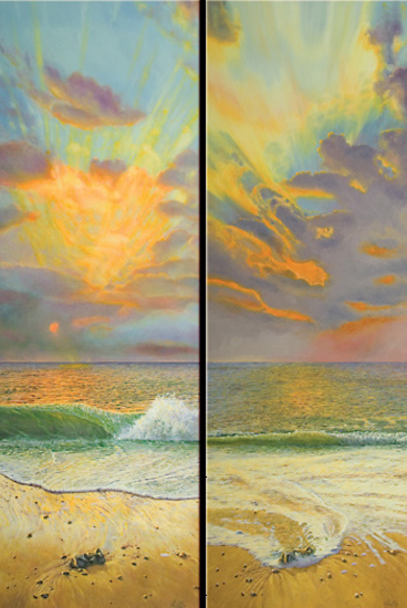 Original Diptych - Sunrise - 6.45am and 6.57am - Oil Painting - West Sussex Artist Tom Gillings - Sussex Artists