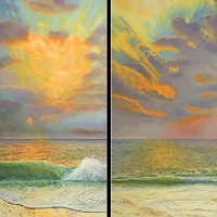 Sunrise 6.45am and 6.57am – Oil Painting – West Sussex Artist Tom Gillings – Sussex Artists Gallery