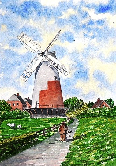 Polegate Windmill, East Sussex - Watercolour - East Sussex Artist Dave Styles - Sussex Artists Gallery