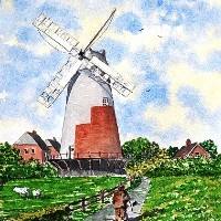 Polegate Windmill, East Sussex – Watercolour – East Sussex Artist Dave Styles – Sussex Artists Gallery