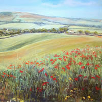Poppies near Alfriston - East Sussex Art Gallery - Pastel Landscape Artist Juliet Murray